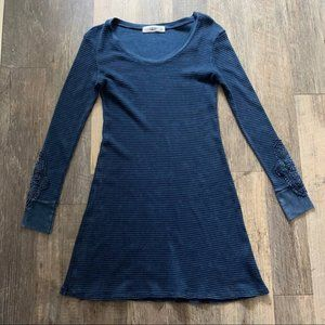 Able   Blue Thermal Dress Lace Sleeves